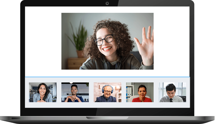 Laptop with a group video chat on the screen