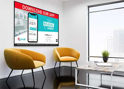 Image of RxLocal ad inside waiting room