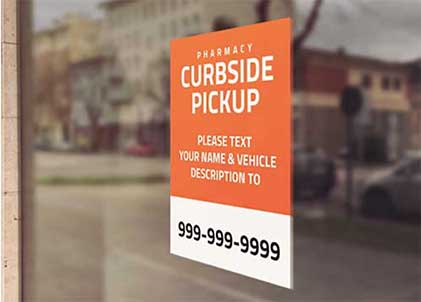 Image of outdoor sign for curbside pikcup