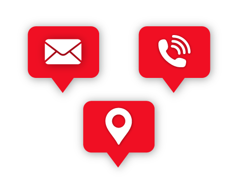email, contact and location icons