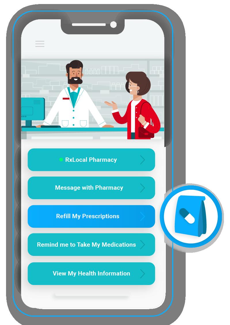 Screen illustration of refilling prescriptions screen