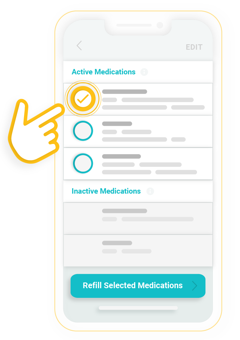 Illustration of screen for refill medications on RxLocal