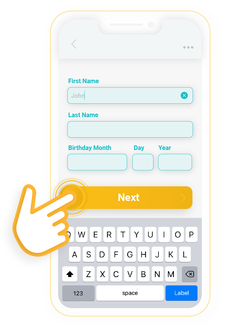 Illustration of personal information being entered on a phone