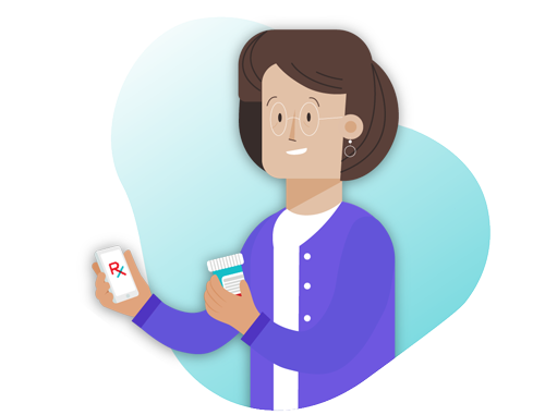 Hero illustration of a lady holding a phone and bottle of pills