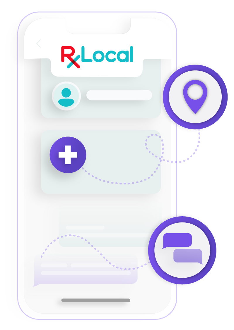 Illustration of RxLocal features on a phone.