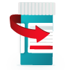 Illustration of a pill bottle representing refill medications.