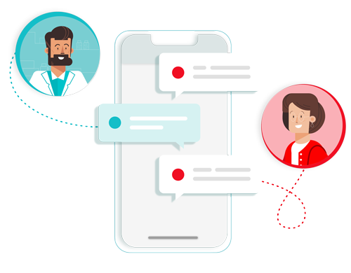 Two. way messaging illustration with pharmacist and patient icons