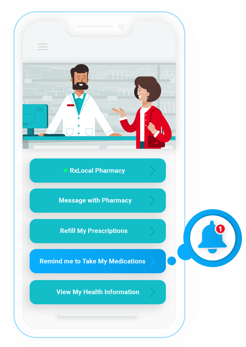 Illustration of a pharmacist and patient inside a phone.