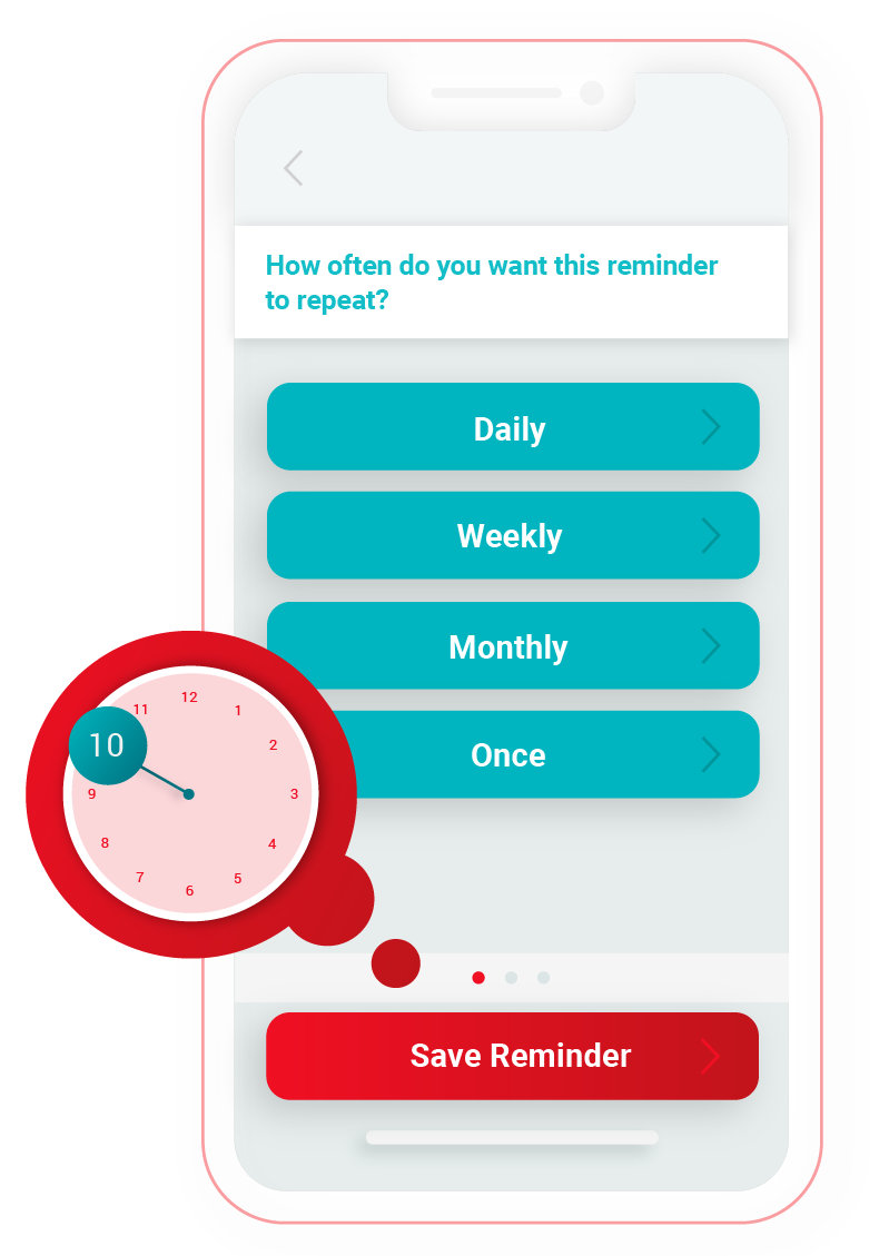 Illustration of reminder frequency on RxLocal app.