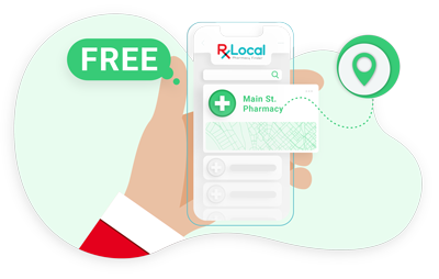 Illustration of guy holding phone with pharmacy finder on screen