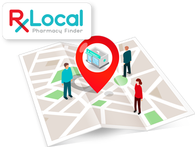 Illustration of people standing on a map for RxLocal Pharmacy Finder