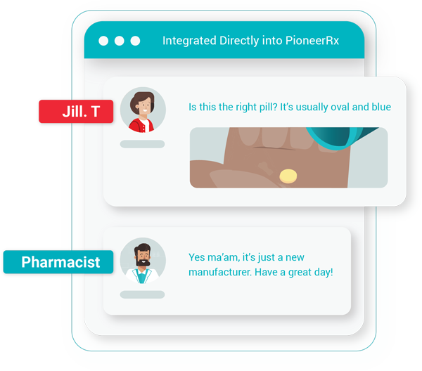 Illustration of patient and pharmacist speaking through messenger