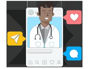Illustration of pharmacist on social post