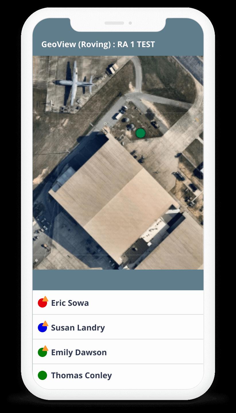 Geo view of app being used on phone