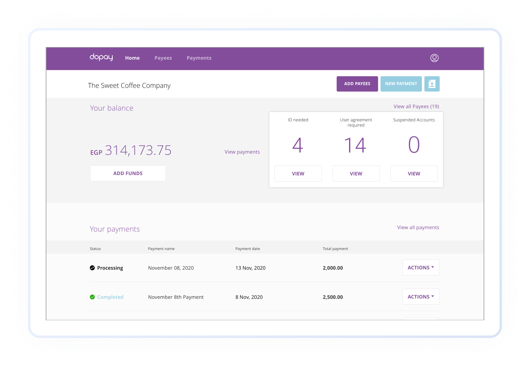 Screenshot showing you can use your existing bank account to work with dopay