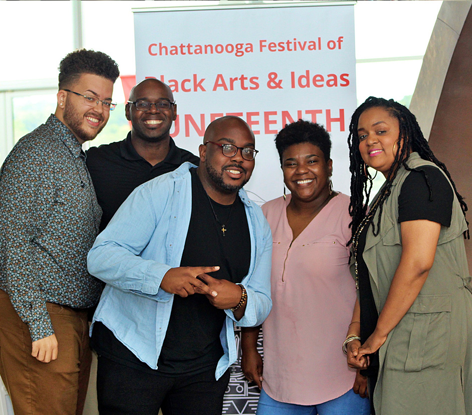 Chattanooga Festival of Black Arts and Ideas Juneteeth Celebration participants standing together and smiling.