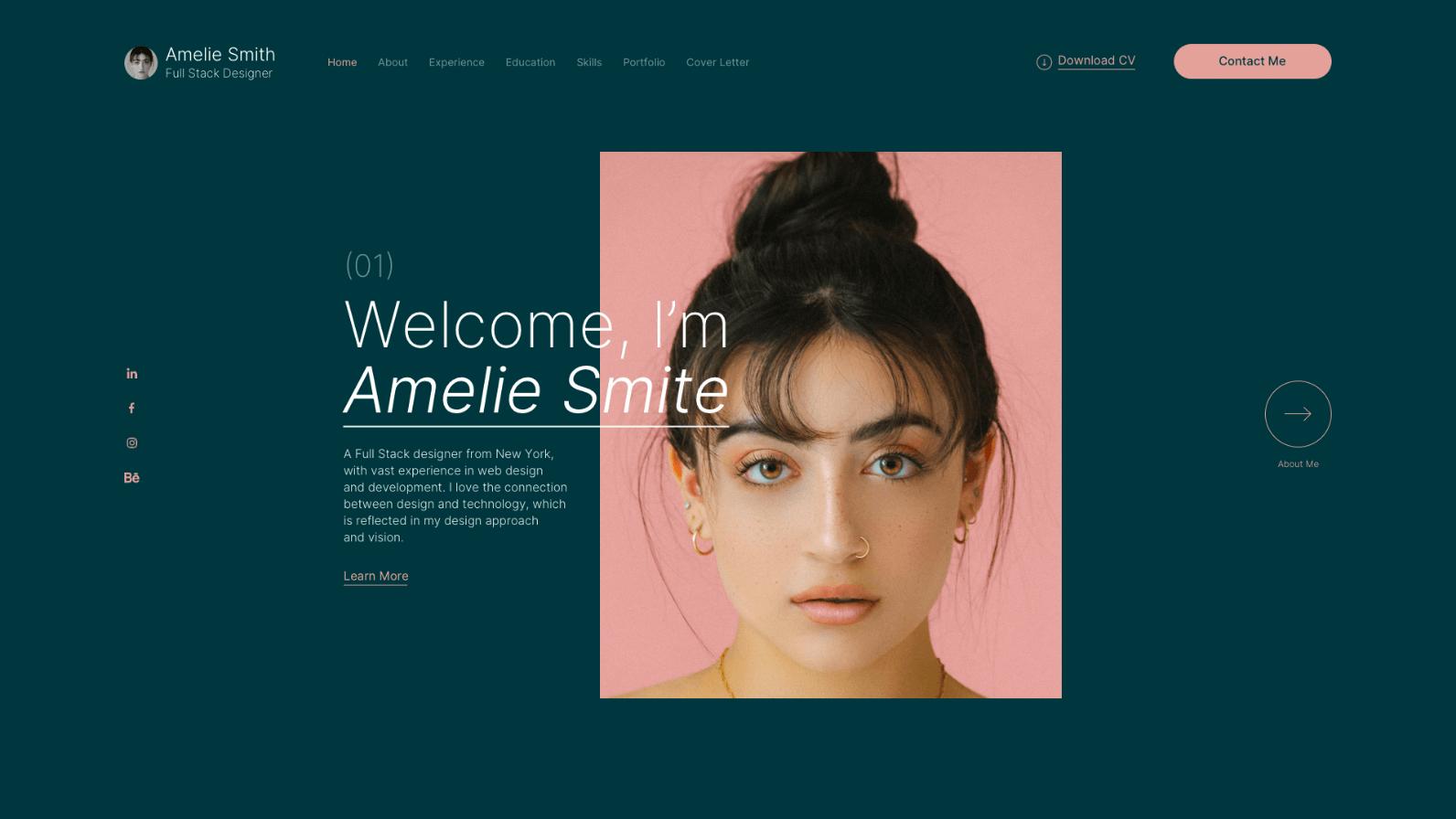 Mockup of website