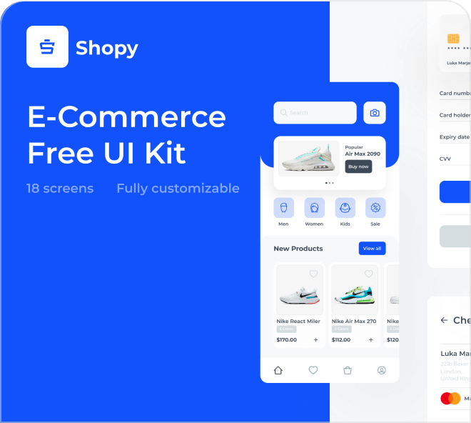 From wireframe to UI design, enjoy Shopy: the free apparel shopping app design, with 18 screens to play with.