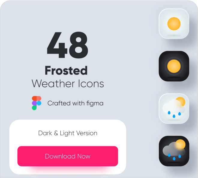 Beautiful, modern and cool, get this set of 48 free Figma weather icons.