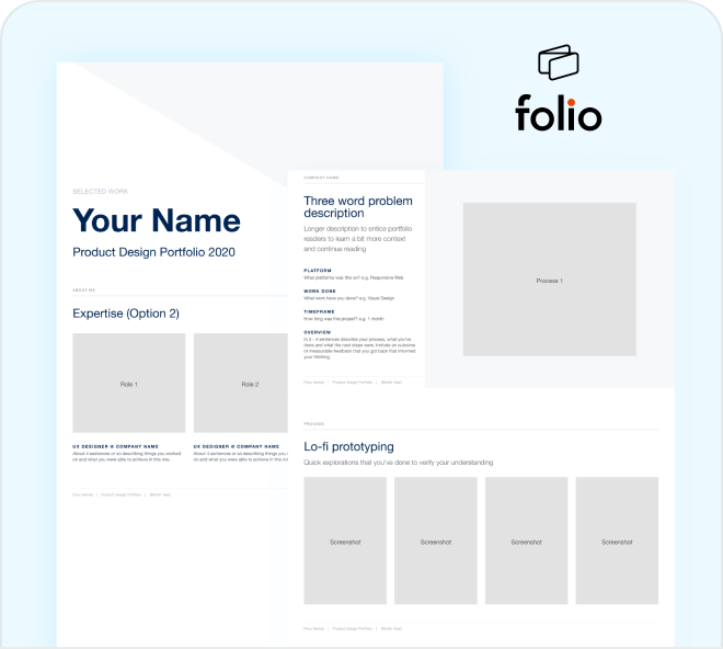 Build a professional portfolio quickly and easily with this wireframe kit.