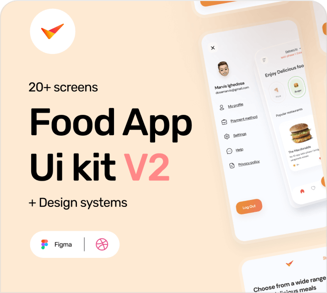 Build a beautiful and efficient food ordering app such as Doordash or Ubereats with this free Figma template.