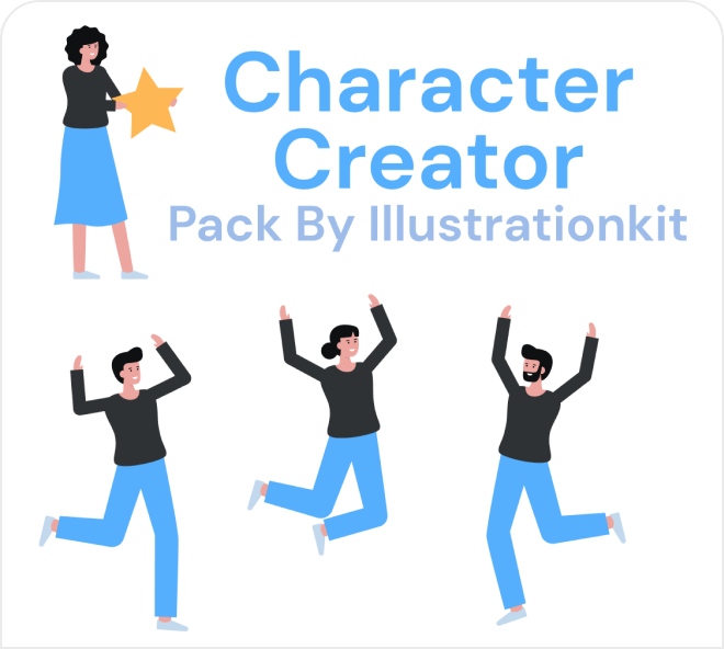 Build out fun illustrated characters with the character creator pack.