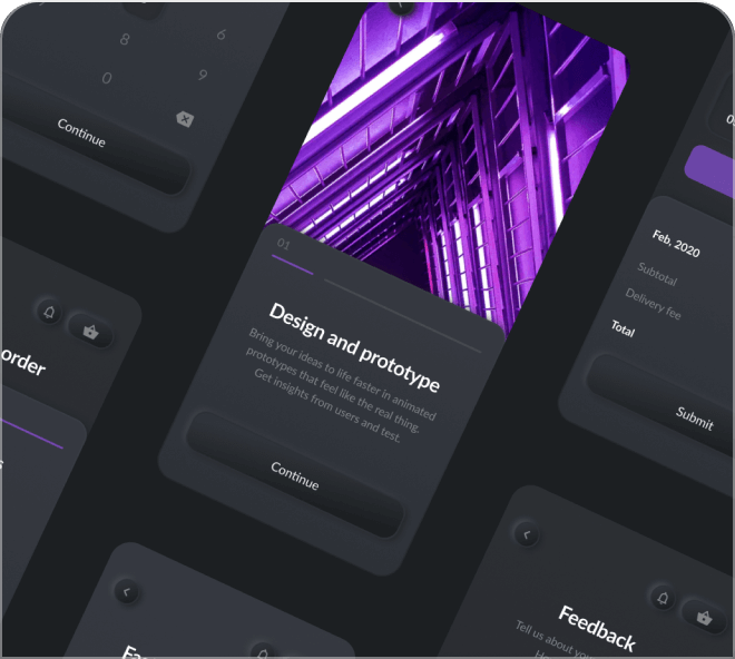 Deliciously dark and mysterious, try out this free Figma mobile UI app kit.