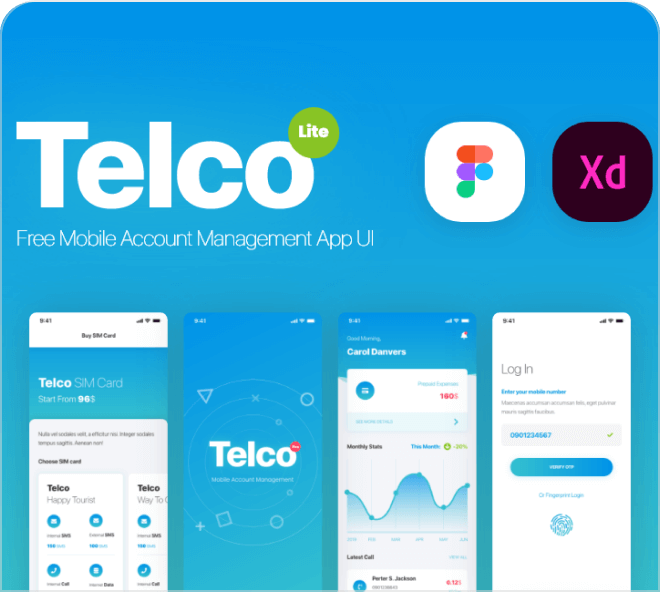 Telco is a free Figma finance manager app design for your use.