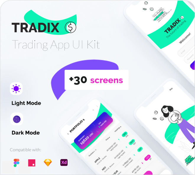 A bright and playful trading app concept design with pops of color.