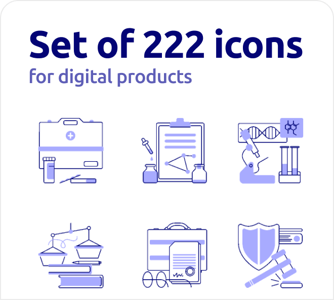 A amazing selection of line art style icons with splashes of color.