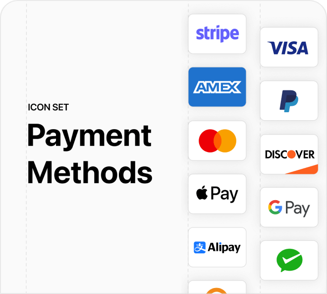 Build out your payment app with this full set of vector based payment methods.