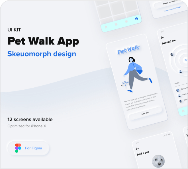 A beautifully modern take on an ancient tradition, dog walking! Grab this free Figma kit.