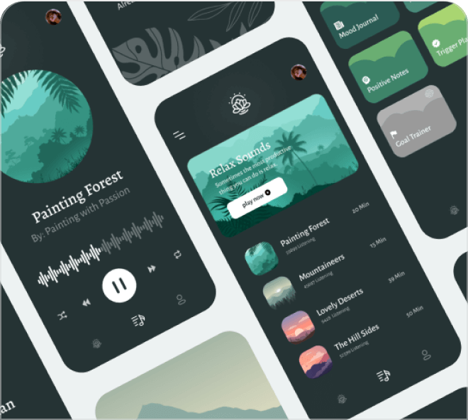 A beautiful dark themed and relaxing wellness and meditation UI kit.