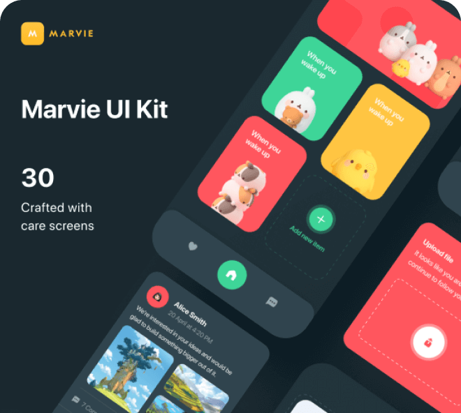 Marvie - Figma Dark Theme iOS Kit