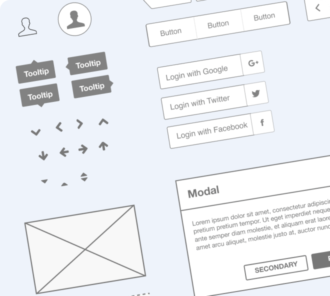 Build wireframes quickly and easily with the comprehensive Ironhack wireframe kit.