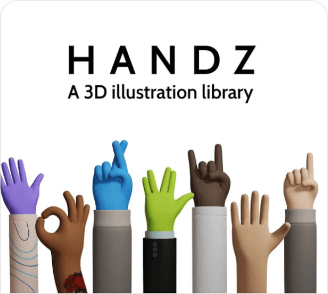 A large, free Figma set of 3D hands in assorted poses.