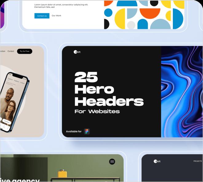 25 amazing, fun and beautiful hero header designs, free for Figma.