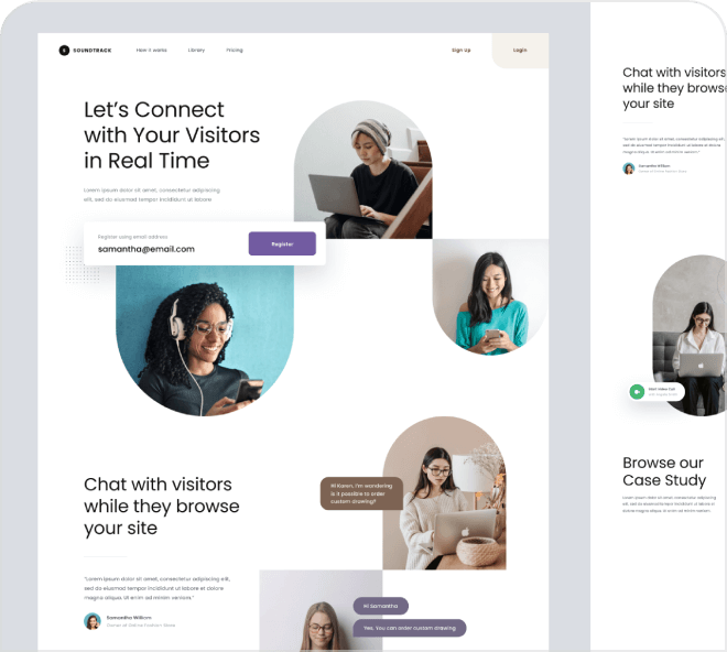 A really small but beautiful free Figma landing page themed around customer chat.