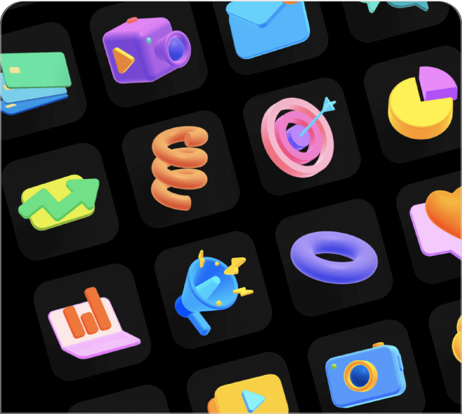 Use these bright and poppy 3D shapes to create engaging websites and apps.