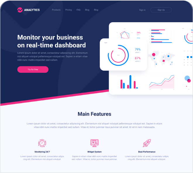 Create a beautiful website by referencing this analytics dashboard focused landing page.