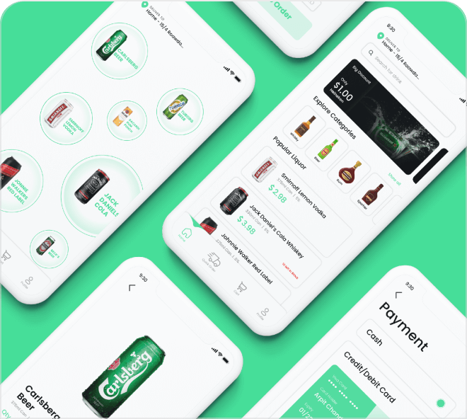 A bright and functional liquor and alcohol delivery UI kit app.