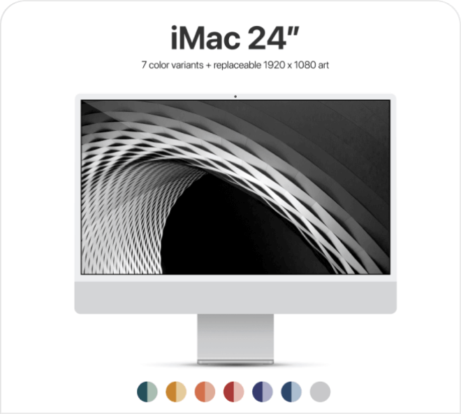 Access all the iMac 2021 Mockup color variations in vector format, free in Figma.