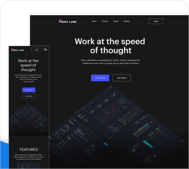 An Apple inspired dark themed UI template in desktop and mobile.