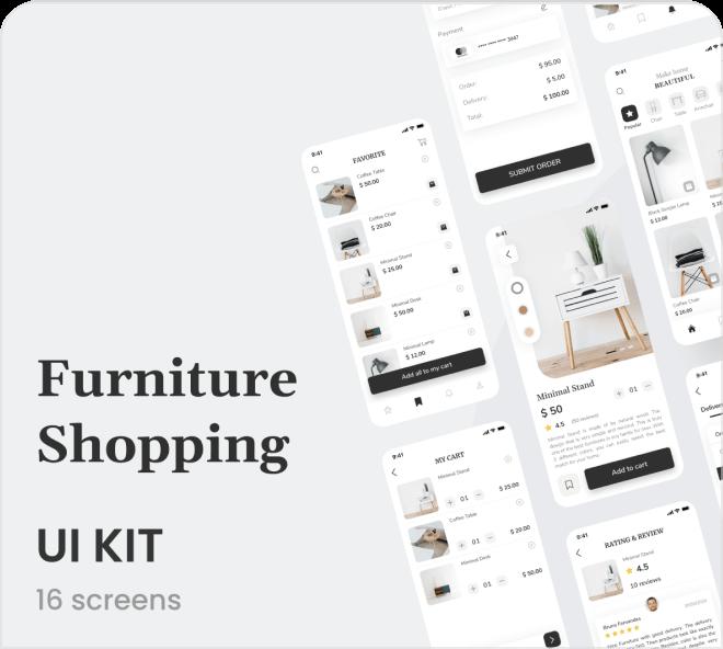 Create a crisp, mature and beautiful classy furniture app, free in Figma.