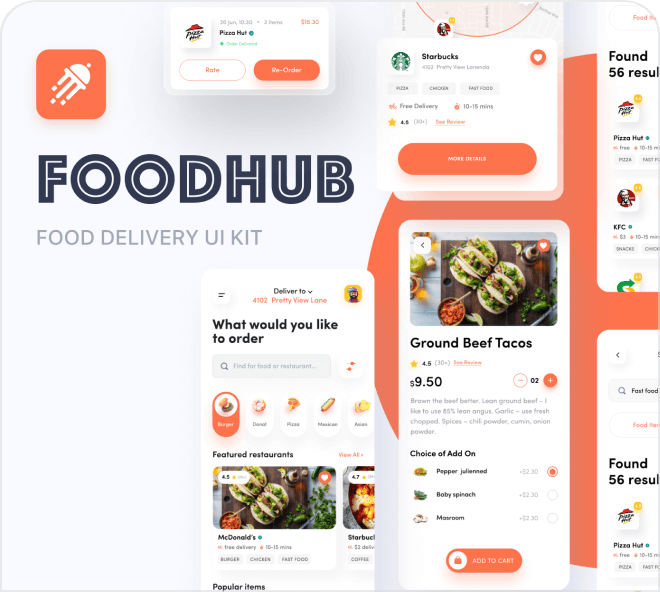 Build out smooth and subtle fast food app with this great set of UI screens.