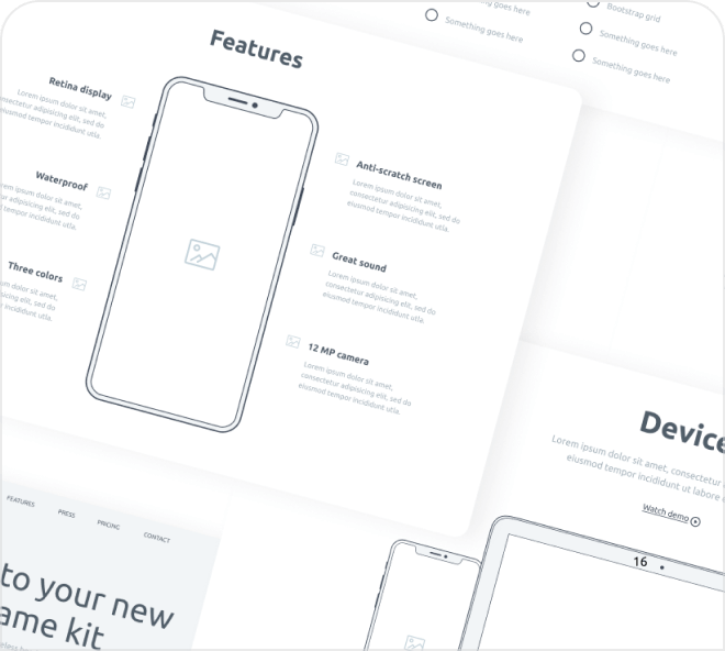Lo-fi wireframe samples.