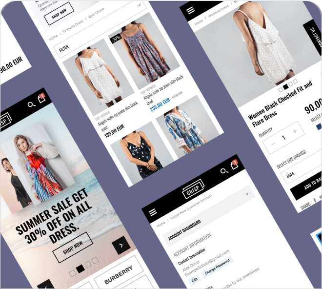 Create your own shopping website using this beautiful and crisp eCommerce theme.