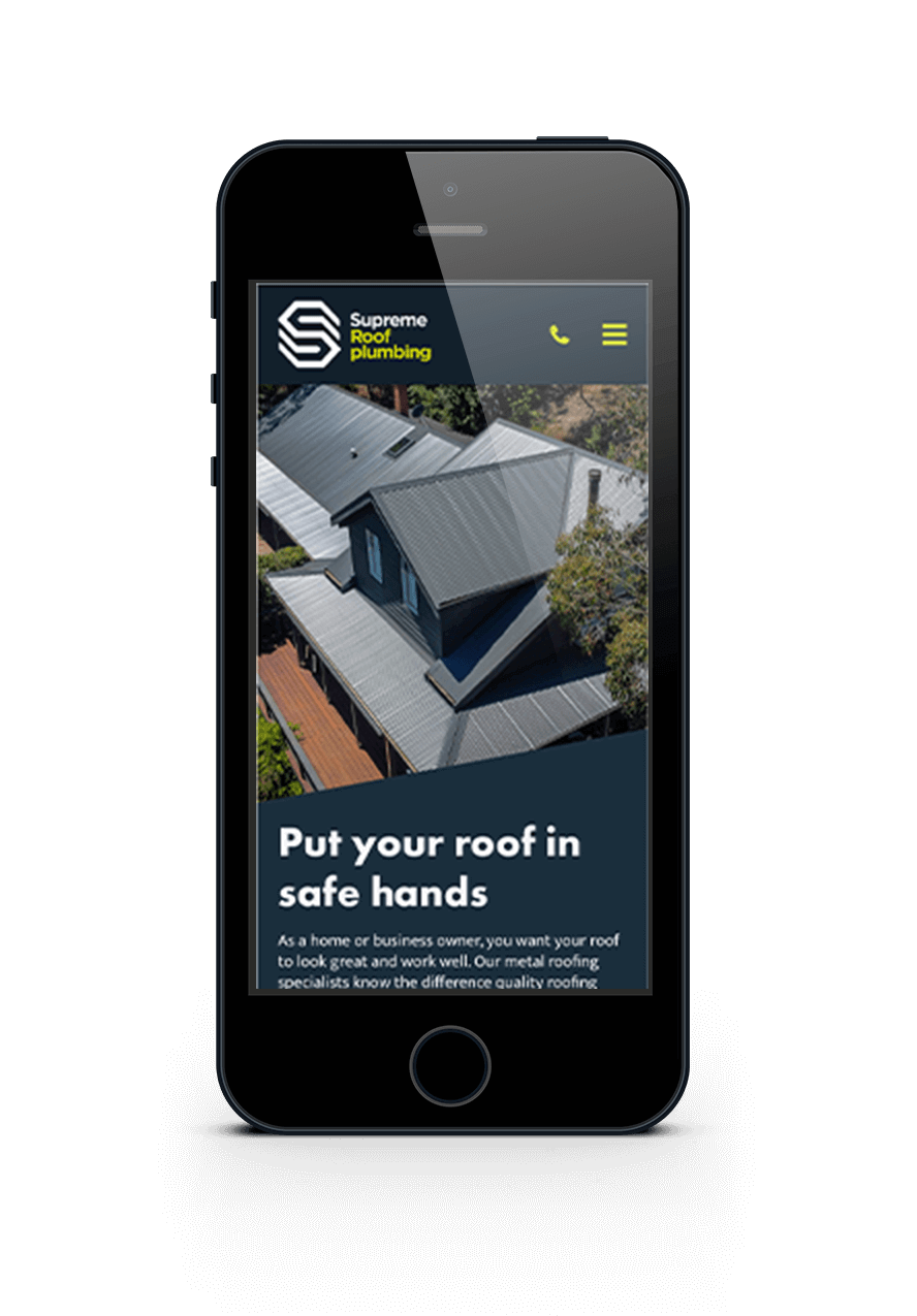 The website design for Supreme Roof Plumbing, displayed on a mobile phone