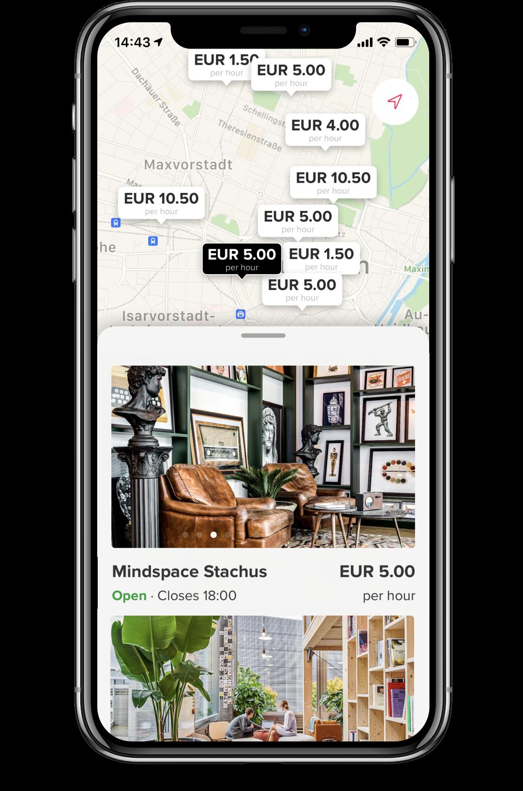 Screenshot of deskbird app coworking spaces overview