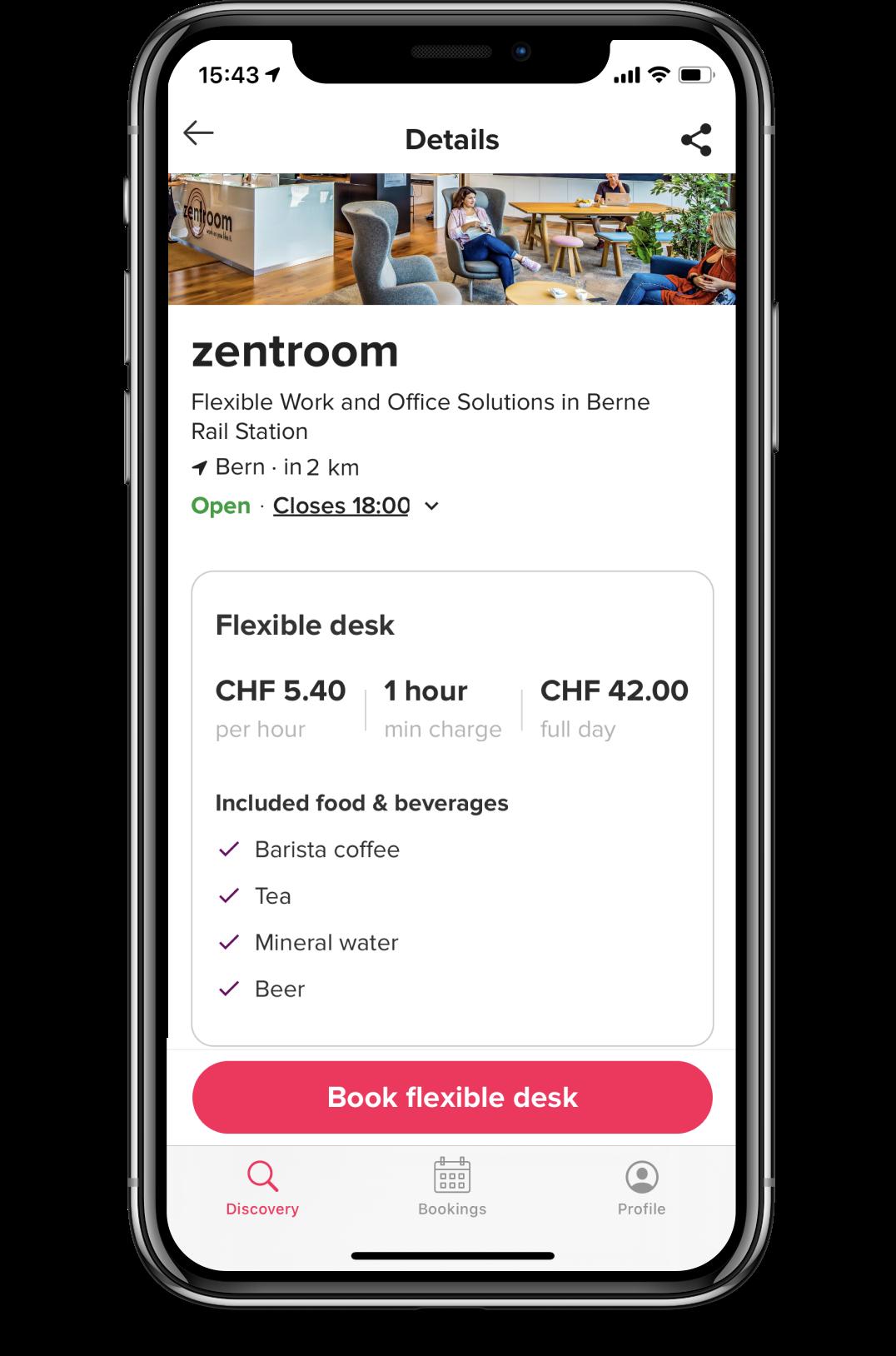 Screenshot of deskbird app coworking space detail view